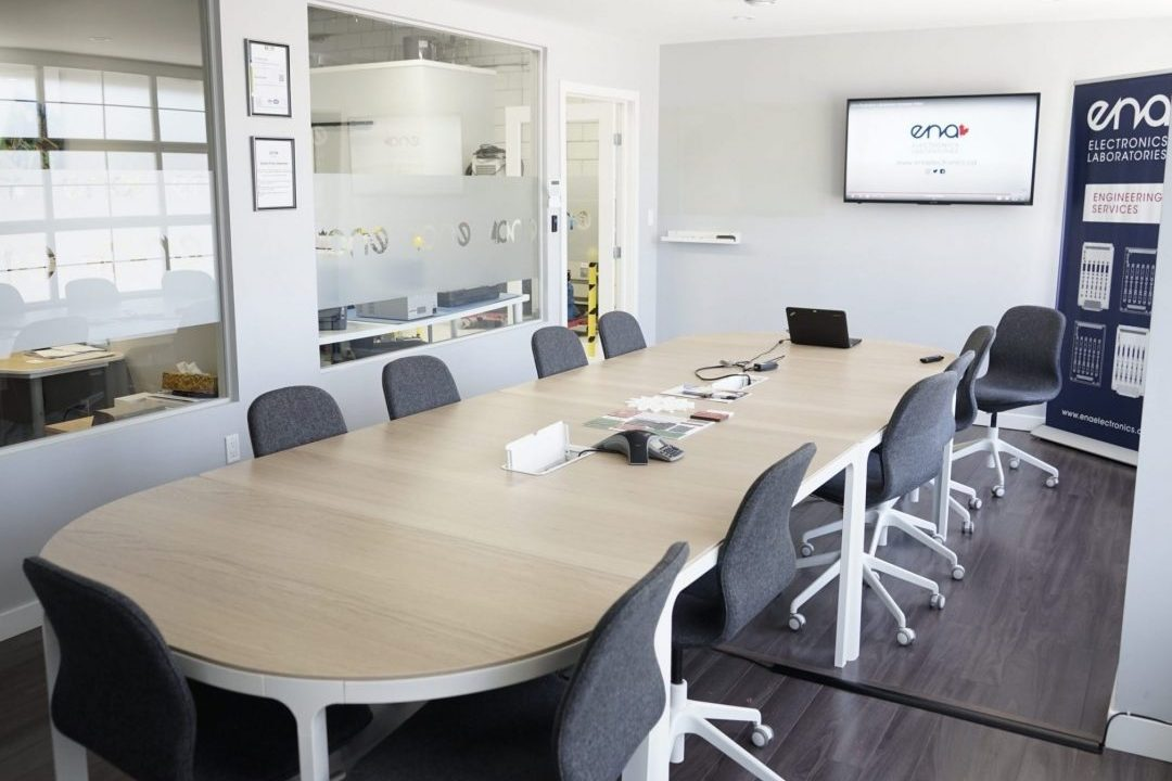 meeting room with a conference table and television